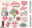 Valentine's day design, labels, icons elements collection. Vector illustration - stock photo
