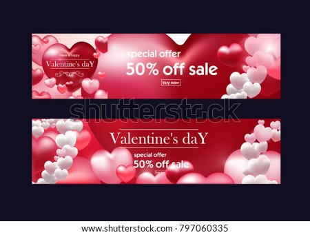 Valentines Day Discount Banner Flyers Valentines Stock Vector ...