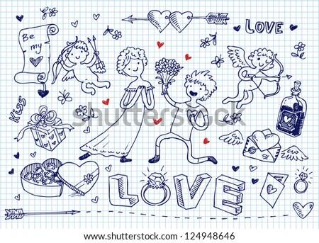 Valentine's day doodles - stock vector