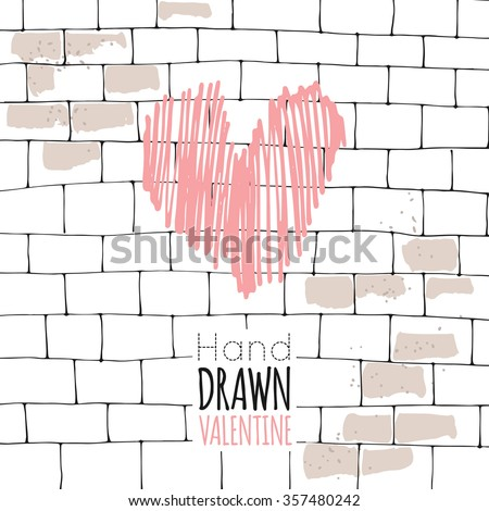 Valentine's day. February 14th. Heart, gift, letter, love, ribbon. Hand drawn vector illustration. Line art ink sketch. Watercolor abstract background. Mixed Media, paper cut. - stock vector