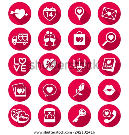 Valentine's day flat color icons - stock vector