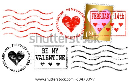 Valentine's day franking mark and stamp