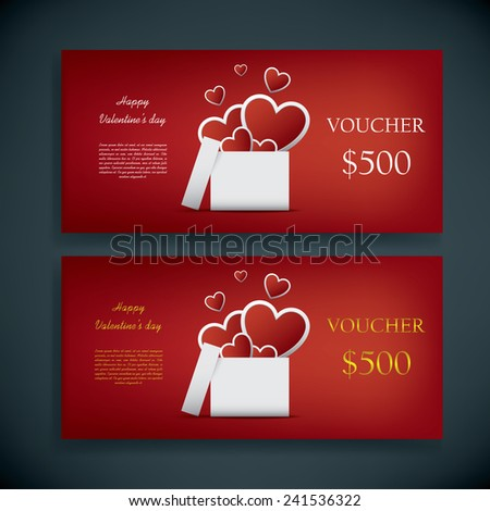 Valentine's day gift card voucher template with traditional background, present and space for your text. Eps10 vector illustration. - stock vector