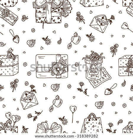 Valentine's Day Gifts - hand drawn doodle Seamless pattern. Black and white festive background. - stock vector