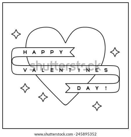 Valentine's Day greeting card in clean minimalistic style - stock vector