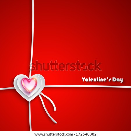 Valentine's Day Greeting Card on red background - stock vector