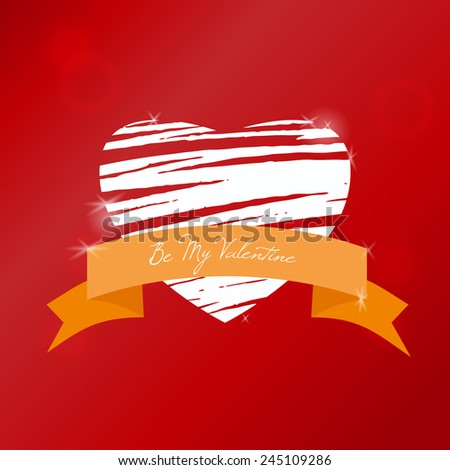 Valentine's day greeting card, white hand drawn heart on red background  - stock vector
