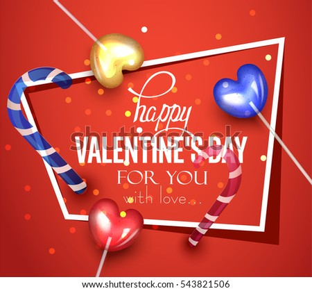 Valentine's Day greeting card with colorful caramel hearts on sticks and lollipops. Vector illustration