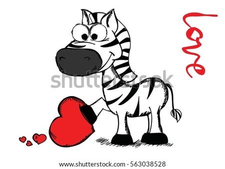 Line Art Valentine : Valentines day greeting card cute zebra stock photo vector