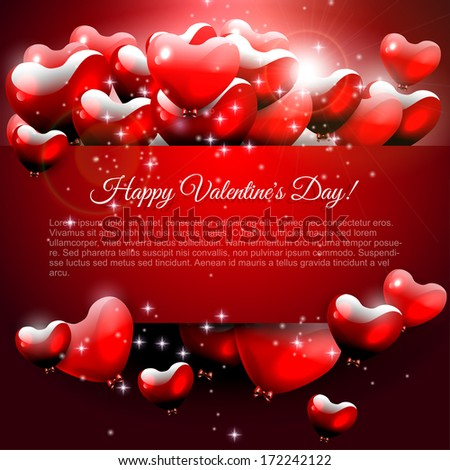 Valentine's Day greeting card with flying hearts and place for text