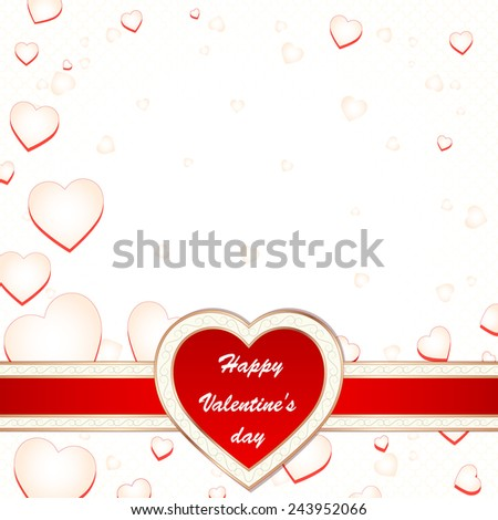 Valentine's day greeting card with flying hearts and place for text, vector illustration