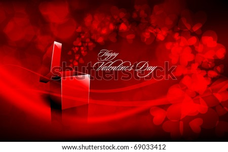 Valentine's Day Greeting Card with open Red box Spreading Hearts | EPS10 Vector Background | Separated on Layers Named Accordingly - stock vector
