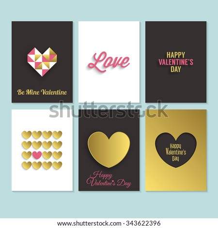 Valentine's day greeting cards design set. Romantic background in black, gold and pink. Vector illustration - stock vector