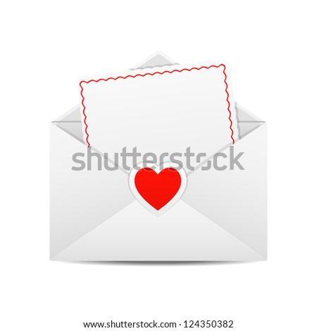 Valentine's Day Greetings. Valentine in the open envelope. Vector illustration. - stock vector