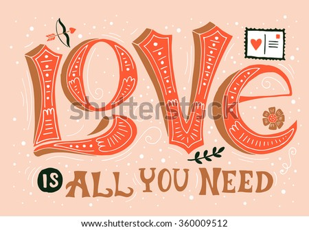 Valentine's day hand drawing greeting card design with word Love. Isolated vector illustration - stock vector