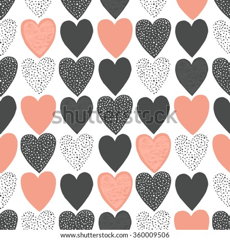 Valentine's day hand drawing seamless pattern with heart shape. Isolated vector illustration - stock vector