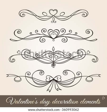 Valentine's day hand drawn decoration frames set in vintage style.Borders, page dividers, page decoration and ornaments for greeting cards, stationary, gift tags, scrapbooking, wedding, invitations - stock vector