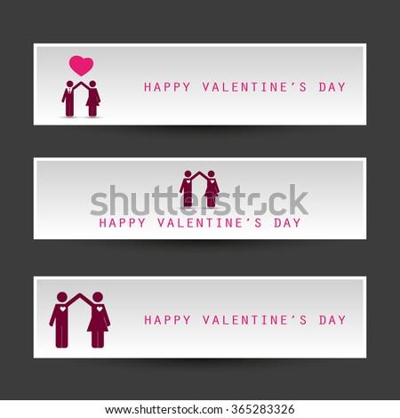 Valentine's Day Header Or Banner Design Templates - stock vector