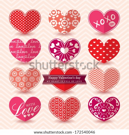 Valentine's day Heart symbol Elements pattern Vector