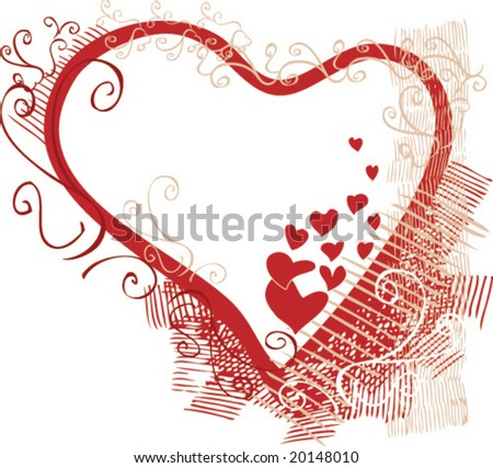 Valentine`s day heart with decorating elements (vector) - stock vector