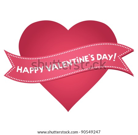 Valentine's Day heart with lettering - stock vector