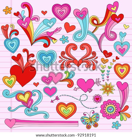 Valentine's Day Hearts and Love Psychedelic Groovy Notebook Doodle Design Elements Set on Pink Lined Sketchbook Paper Background- Vector Illustration - stock vector