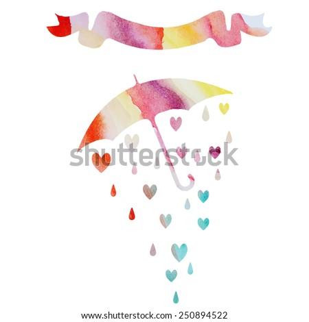 Valentine's Day hearts of rain - stock vector
