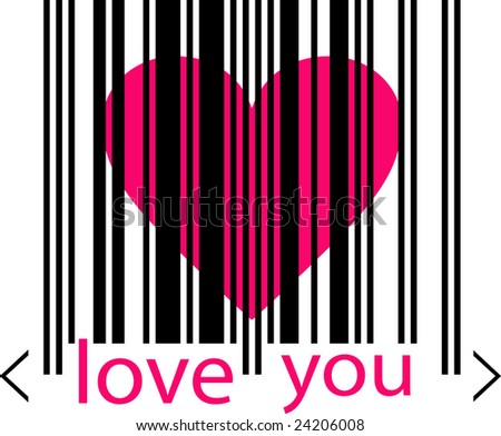 Valentine's Day Icon. Emo love concept - pink heart marked by barcode with words LOve you beneath on white background - stock vector