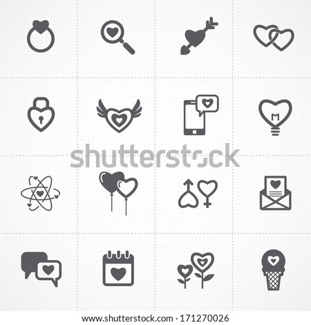 valentine's day icons and love icons set