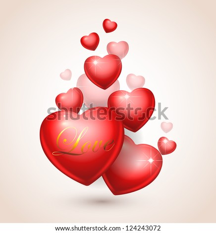 Valentine's day illustration. Red hearts - stock vector