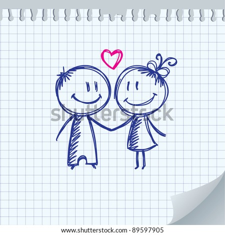 valentine's day illustration with boy and girl - stock vector
