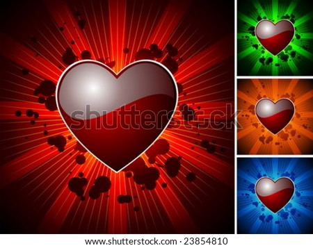 Valentine's day illustration with glossy red heart with four color variation - stock vector
