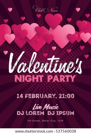 Valentines Day Invitation Flyer Template Club Stock Photo Photo
