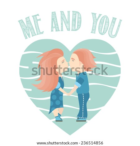 Valentine's Day kiss. Kissing couple in love vector illustration. Wedding card. - stock vector