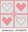 Valentine's Day knitted seamless pattern with red hearts - stock vector