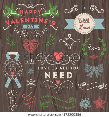 Valentine's day labels, design elements collection on wood background for scrap booking and design. - stock vector