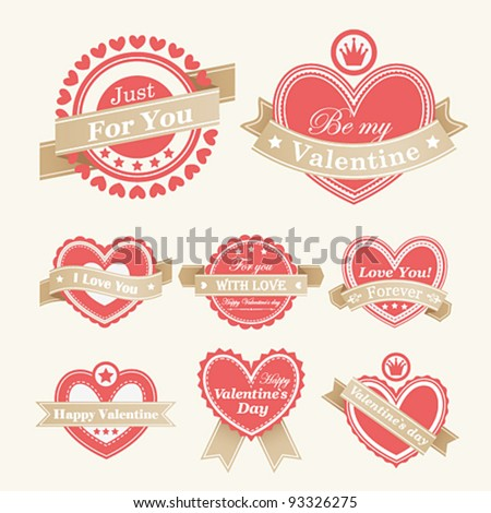 Valentine`s Day Labels. Vector illustration. - stock vector