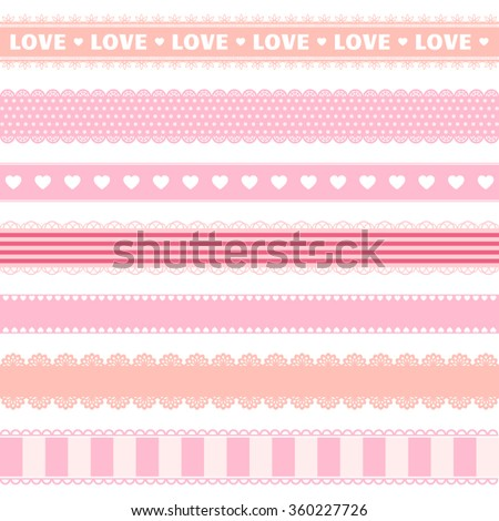 Valentine's Day lace ribbons. Great for Valentine's Day decor. Vector illustration. More sets you can find in my portfolio