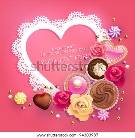 Valentine`s Day lacy frame for your text decorated with  sweets, cupcakes, cookies and golden beads. - stock vector
