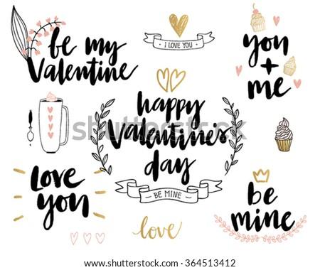 Valentine`s Day Lettering Design Set - hand drawn Vector illustration. - stock vector