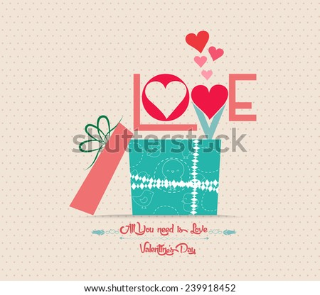Valentine's Day love greeting card with gift - stock vector