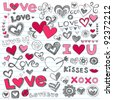 Valentine's Day Love & Hearts Sketchy Notebook Doodles Design Elements on Lined Sketchbook Paper Background- Vector Illustration - stock photo