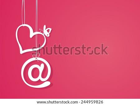 Valentine's day. Love letter template. Vector illustration.  - stock vector