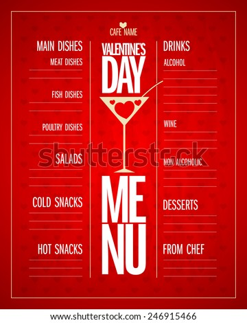 Valentine's day menu list design, place for dishes and drinks. - stock vector