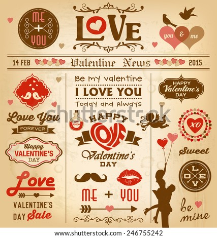 Valentine's day newspaper design with labels, icons elements collection - stock vector