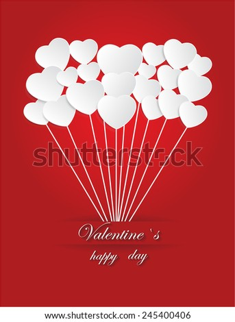 Valentine`s  Day of White Paper Heart  on a Red Background. Vector illustration - stock vector