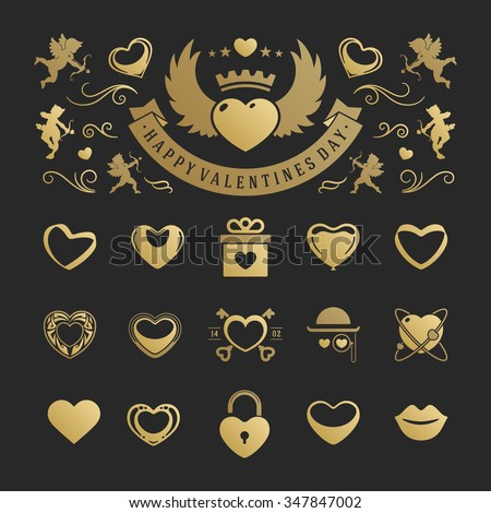 Valentine's Day or Wedding Vintage Objects and symbols Set: Hearts, Love Labels, Arrow, flowers, ribbons and Icons. Vector design elements. Valentines Day Hearts, Valentines symbols, Valentines icons. - stock vector