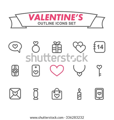 Valentine's Day outline icons set. Romantic wedding icons set.  - stock vector