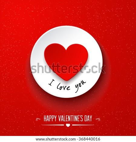 Valentine's day  paper heart sticker. Vector illustration - stock vector