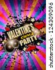 Valentine's Day party flyer background with music and love themed elements. Ideal for nigh disco party posters. - stock